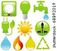 Vector Icons : Energy Saving (light, water, electricity, fire, solar power) isolated on white - stock vector