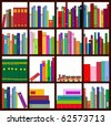 Vector illustration of four bookshelves with loads of cool books of all colors, types and sizes - stock vector