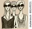 Vector illustration of three women with sunglasses - stock vector