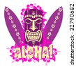 Vector illustration of tiki mask with surf boards, and hand drawn text Aloha - stock vector