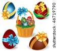 Vector Image baskets with Easter eggs - stock vector