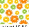Vector lemon, lime and orange seamless background - stock vector