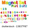 Vector Magnets Set (Part 2 of 2) - Numbers, Maths, Currencies & Punctuation Marks - stock vector
