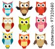vector owls - stock vector