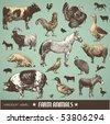 акции вектора: вектор набор: сельскохозяйственные животные - различные ретро-стиле иллюстраций