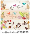 Vector set of cute autumn banners - stock vector