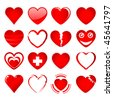 Vector set of red hearts in different shapes and styles on a white background. JPG and TIFF versions of this image are also available in my portfolio. - stock vector