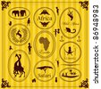 Vintage Africa labels and elements illustration collection - stock vector