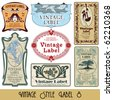 vintage style labels on different topics for decoration and design - stock vector