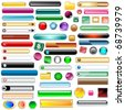 Web buttons collection with 63 scalable assorted colors and shapes inc round, square, rectangles and oval shaped buttons. Isolated on white. Raster also available. - stock vector