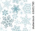 Winter - blue christmas seamless pattern / texture with snowflakes - stock vector
