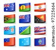 World flags. Oceania. Vector. - stock vector