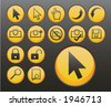 yellow icons and pointers (4 of 5) - stock vector